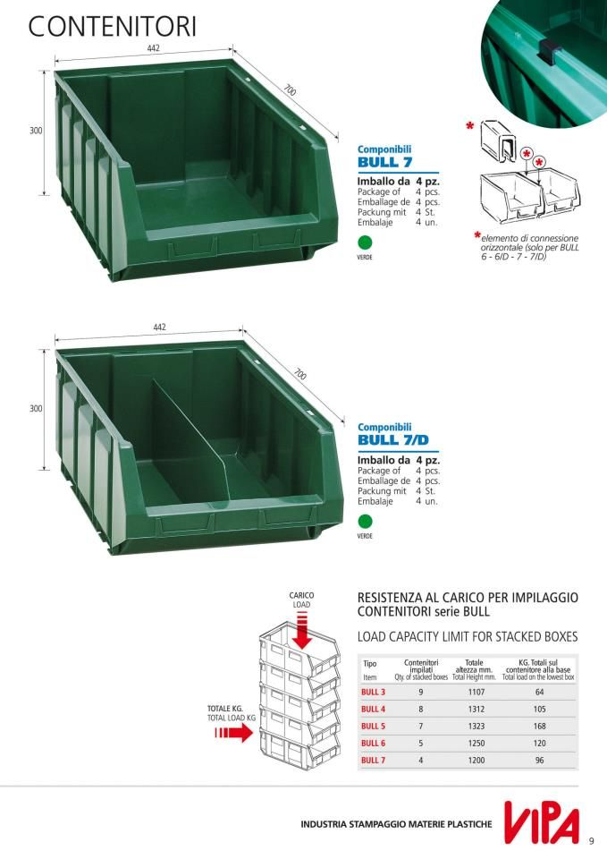 Open fronted bins with very strong structure.   Easily to be placed one upon another.   Made of plastic material guaranteed against fracture and breakage. Resistant to acids, oils, solvents and detergents.