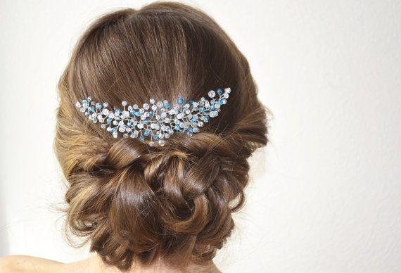 Blue Bridal Headpiece, Crystal Wedding Hair Piece, Something Blue Bridal…