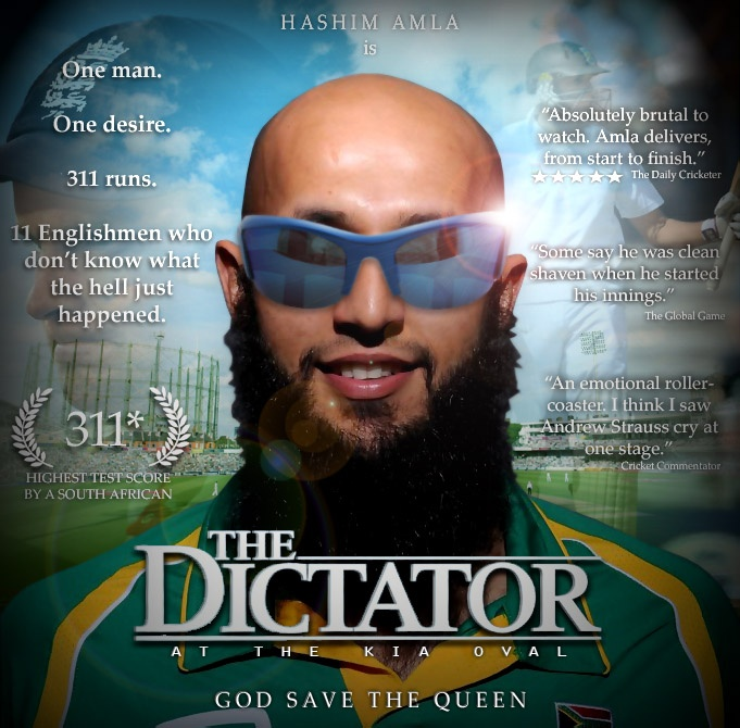 Hashim Amla: Dictator at the Kia Oval Cricket Test. What a champ!