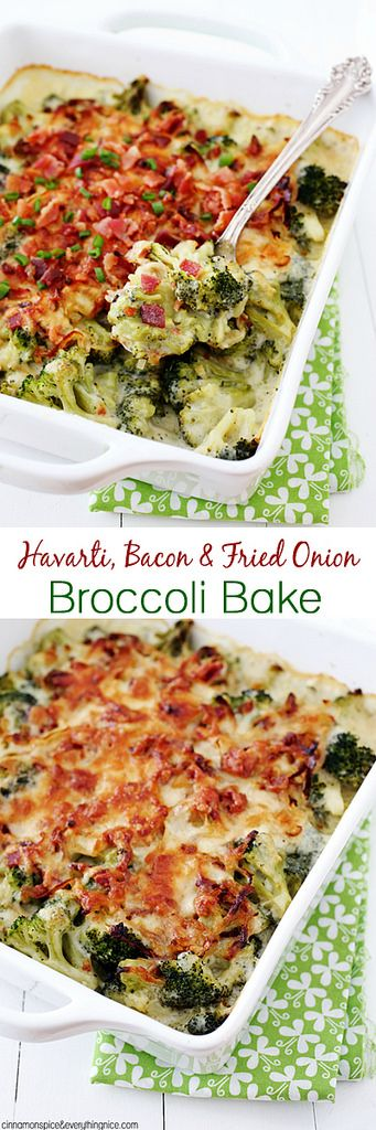 Havarti, Bacon & Fried Onion Broccoli Gratin - you'll never look at broccoli the same way again! {cinnamonspiceandeverythingnice.com}