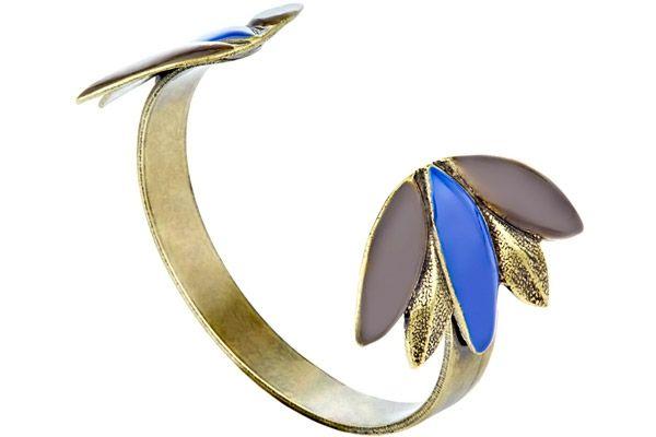 Bracelet manchette Lia, métallisation émaillée, Bleu, Ø55mm Marine de Diesbach