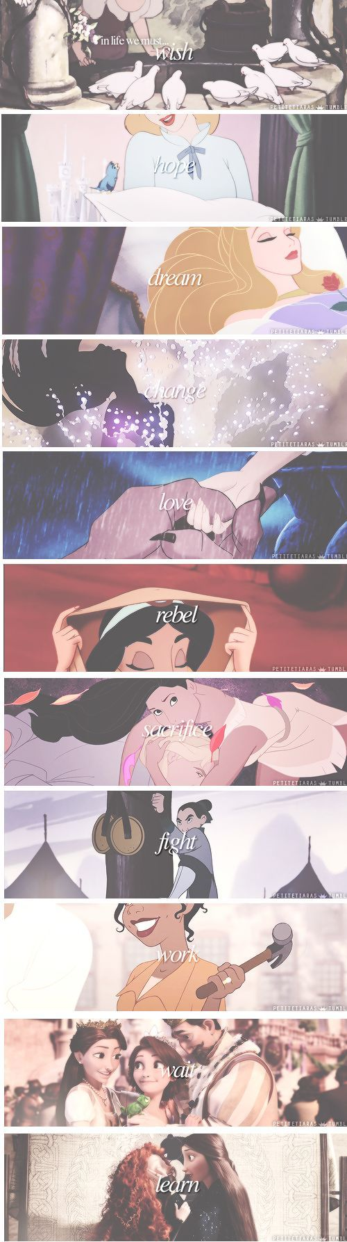 So many concentrate on the surface aspects of what being a Disney Princess is, but it just shows how incapable they are of seeing what is being said on a deeper level. Disney Lessons to Live By