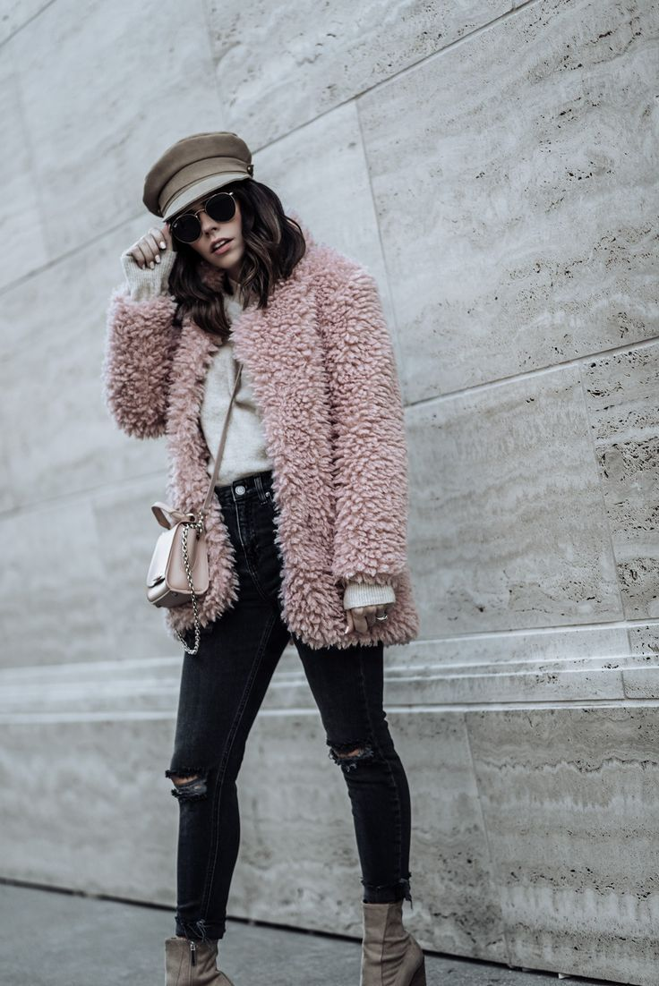Click to shop the look: Pink Shaggy Faux Fur Coat (Amazon, also love this)   Citizens of Humanity Rocket Skinny Jeans in Distressed Dark Wash   KENDALL + KYLIE Fallyn Bootie in Camel (also similar here for less)   Lack of Color Lola Cap   51 mm Ray-Ban Sunglasses   ASOS Nude Sweater #fauxfur #streetstyle #rippeddenim #blog #fashionblog #outfitideas