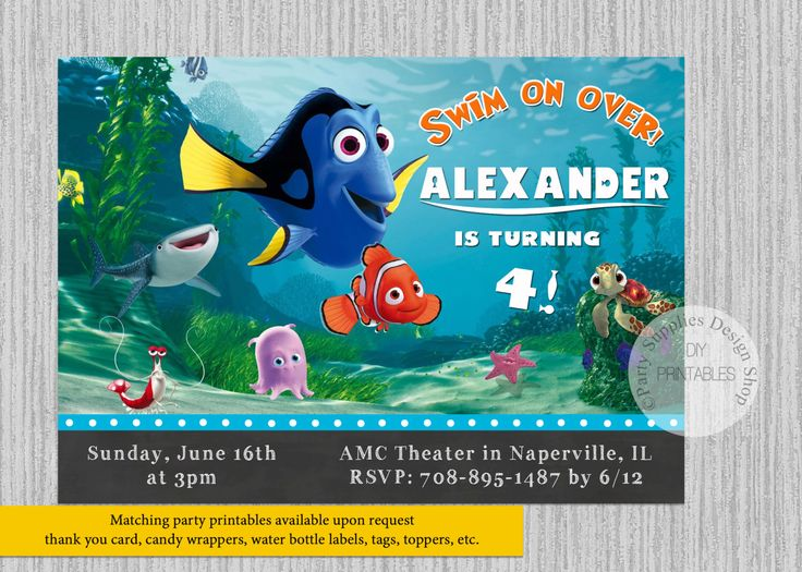 PRINTED or Digital Finding Dory Movie Birthday Invitations, Disney Finding Dory Party Supplies, Nemo Dory Party Printable Invitations by PartysuppliesDesign on Etsy https://www.etsy.com/listing/460370002/printed-or-digital-finding-dory-movie