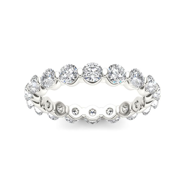 Express your heartfelt love and commitment with this exceptional diamond eternity band. Expertly crafted in white gold, it shimmers with a thoughtful prong-set round diamonds that has no beginning and no end.