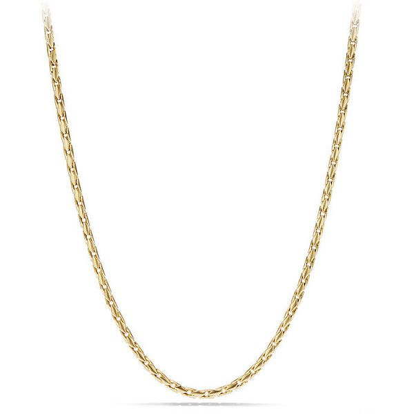 David Yurman Small Fluted Chain Necklace in 18K Gold, 3.8mm ($4,900) ❤ liked on Polyvore featuring men's fashion, men's jewelry, men's necklaces, david yurman mens necklace, mens chain necklace, mens gold chain necklace, mens yellow gold cross necklace and mens gold necklace