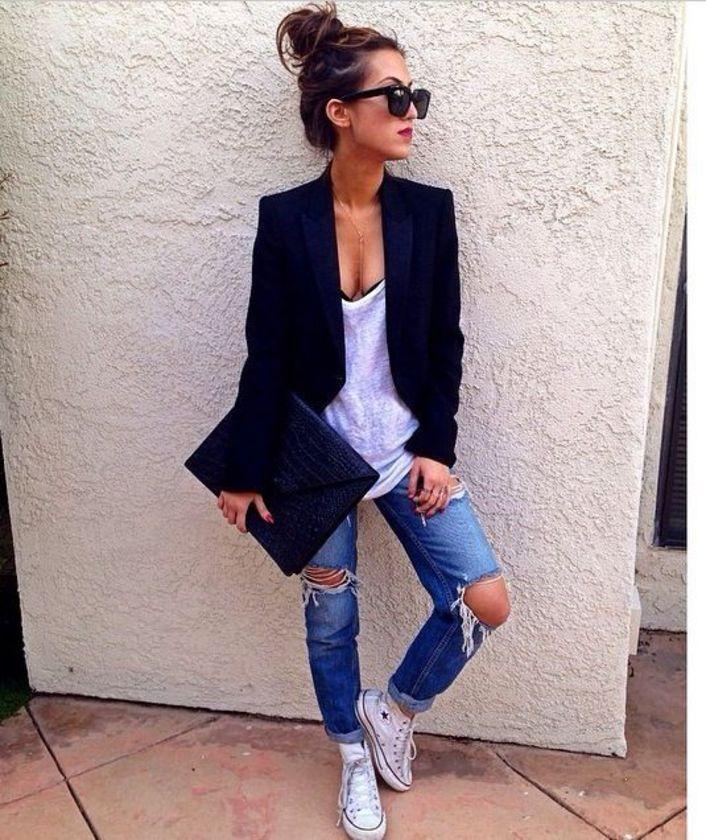 Looks con jeans rotos - Fucsia.co