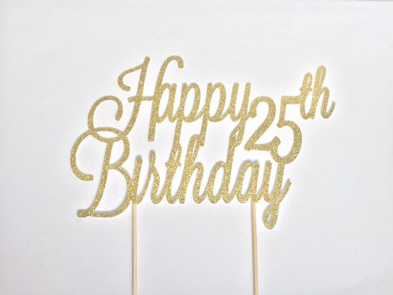 Gold Glitter Happy Birthday Cake Topper In 2019