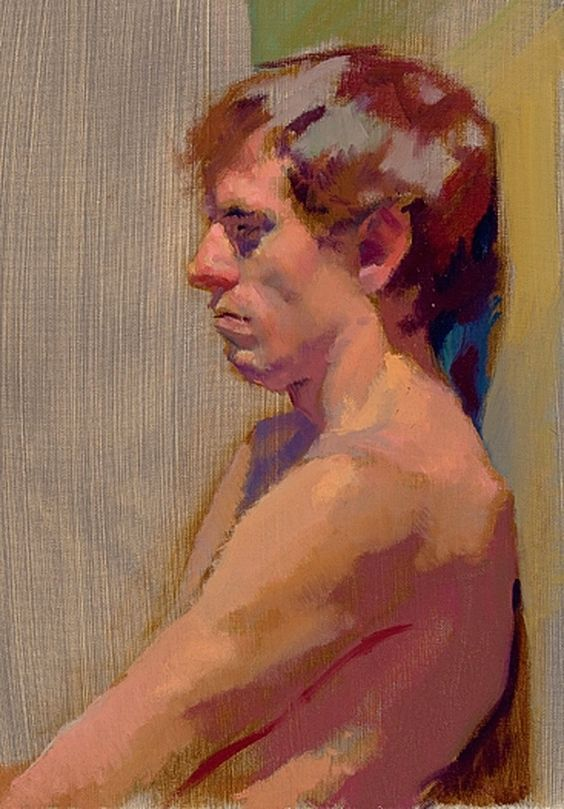 """Russell"" - Lea Colie Wight, oil on linen {contemporary figurative #impressionist art male head profile man face portrait painting} leawight.com"