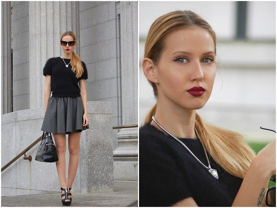 Review Fluffy Top, Prototype23 Rubber Pleated Skirt, Sonia Rykel  Leather Bag, Michael Kors Leather Heels, H&M Necklace