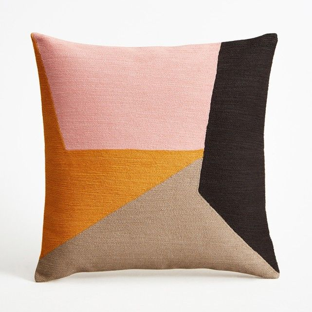 Saddler Cushion Cover AM.PM. : price, reviews and rating, delivery. The Saddler cushion cover. The embroidered coral, rose, taupe and black graphic motif gives a patchwork effect . Plain natural colour back. 100% lined cotton . Concealed zip fastening at the top. Size : 45 x 45cm. .