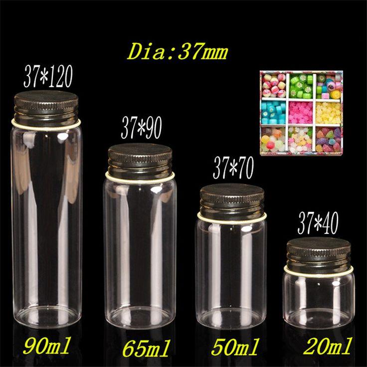 Стеклянные бутылки упаковки ювелирных изделий 20 мл 50 мл 40 мл 65 мл 90 мл стеклянные бутылки алюминий черный цвет Cap пустой подарок банки контейнеры 12 шт.
