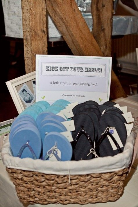 I was just at a wedding a few weeks ago where they did this and boy, was I glad to get out of my heels!! Clever!  Essex Country Barn Wedding