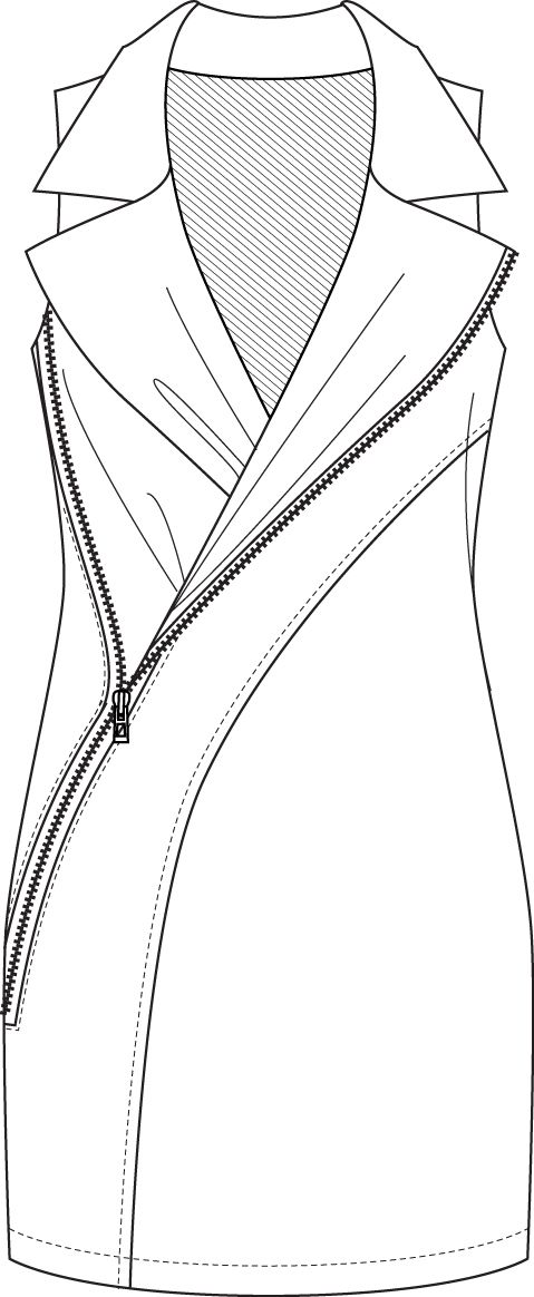 Flat Fashion Sketch Dress