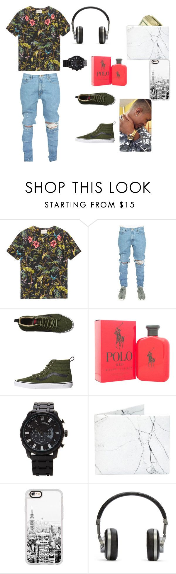 """men or ladies i'm  still a pro  outfit maker"" by queennevaeh2232 ❤ liked on Polyvore featuring Gucci, Vans, Ralph Lauren, Forever 21, Casetify, Master & Dynamic, men's fashion and menswear"