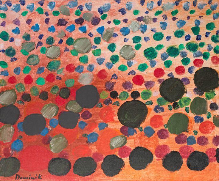TADEUSZ DOMINIK (1928 - 2014)  OGRÓD II, 1980   akryl, płótno / 75 x 90 cm