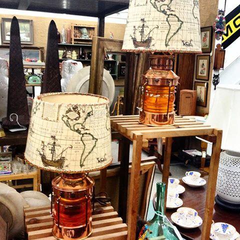 Pair of Dutch copper nautical lantern lamps.