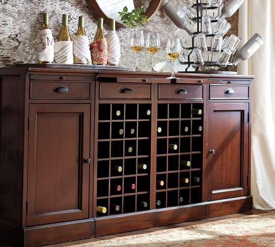 Modular Bar Buffet With 2 Wine Grid Bases Cabinets