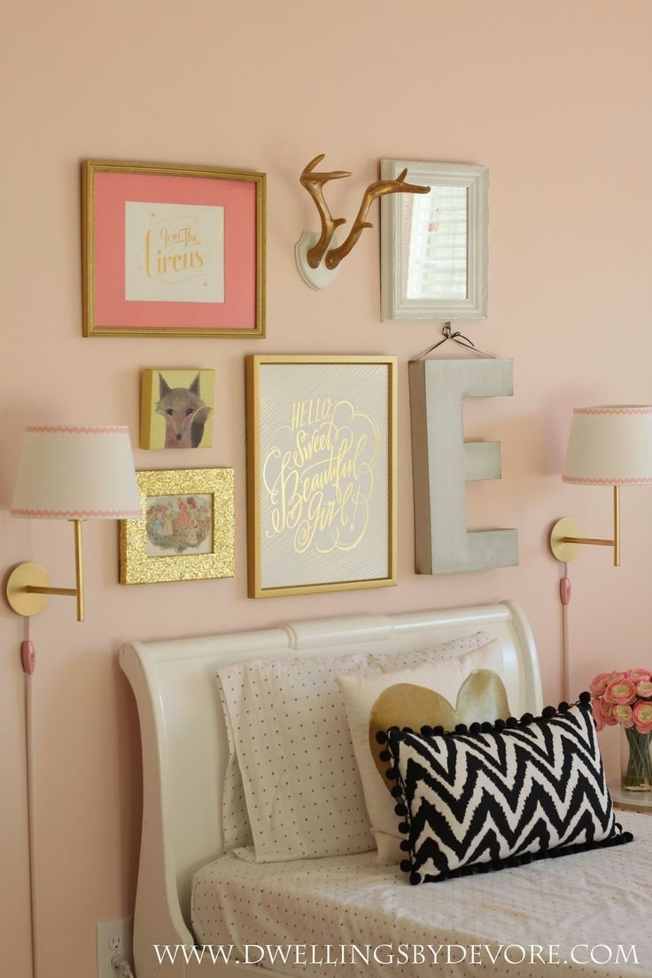 sweet girls room, gallery wall, wall sconces