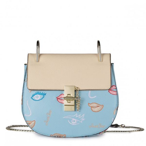 Exclusive Light Blue Handbag With Gold Chain and Beige Lips – Kiss and Belle Boutique found on Polyvore