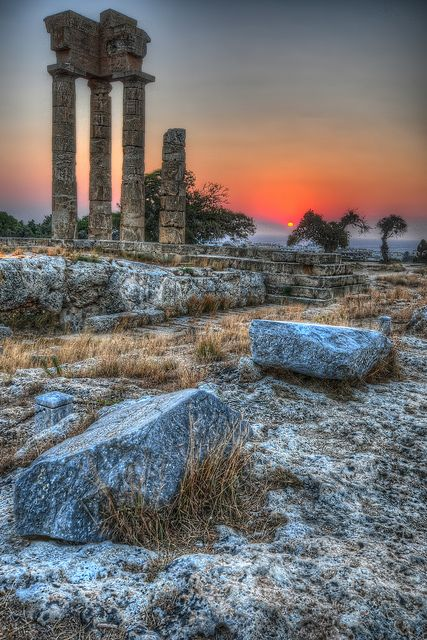 Sunrise on the Acropolis of Rhodes, Greece