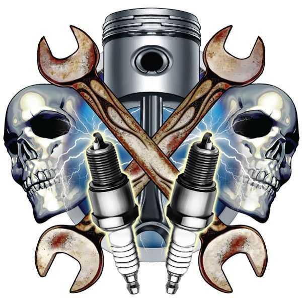 Mechanic Skulls and Spark Plugs Wall Decal http://www.retroplanet.com/PROD/46674