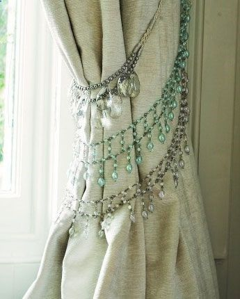 Click Pic for 50 DIY Home Decor Ideas on a Budget - Old Rhinestone Necklaces make great Curtain Ties - DIY Crafts for the Home #bedroom decor on a budget