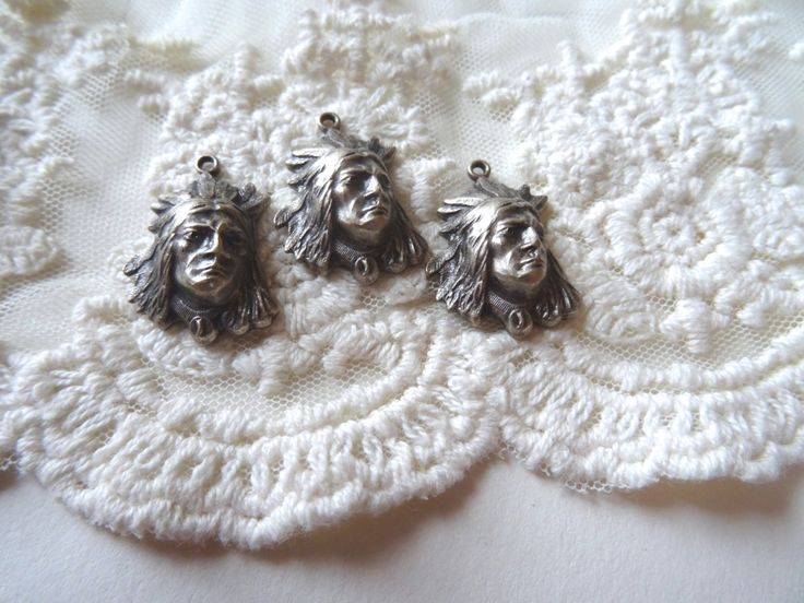 4- Indian Head Charms Vintage Antique Silver Feather Head Dress American Indian Chiefs Native American Charms BuyDiy Craft Supplies Inv0016 by BuyDiy on Etsy