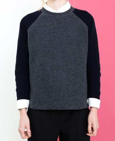 Folk raglan wool black grey sweater jumper from The Cycling Store