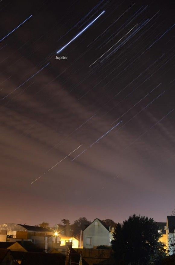 These are called star trails. It's a long-exposure photo, which shows you how Earth is turning under the stars. The brightest object here is Jupiter! This awesome photo by EarthSky Facebook friend Mohamed Laaifat in Normandy, France. - http://earthsky.org/astronomy-essentials/visible-planets-tonight-mars-jupiter-venus-saturn-mercury