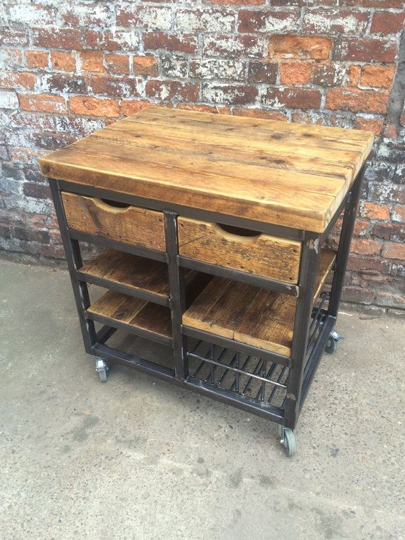 Reclaimed Industrial steel kitchen island unit with drawers and shelving. Custom tables for bars, resturants, cafes. Hand made wood custom