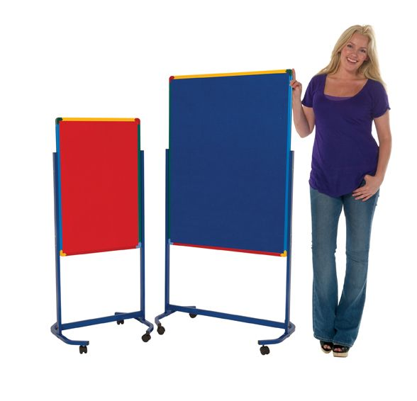 Harlequin Frame Mobile #Junior #Partition. A mobile room divider with locking castors which can be used as a mobile partition or as a mobile display board.  The double sided panels are covered in fire retardant felt which can be used with pins and velcro. Choose from 4 colours - red, green, blue and grey. Ideal for #schools and #nurseries.