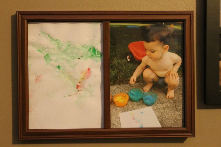 A cute idea for displaying toddler art. Maybe a mothers or fathers day gift?