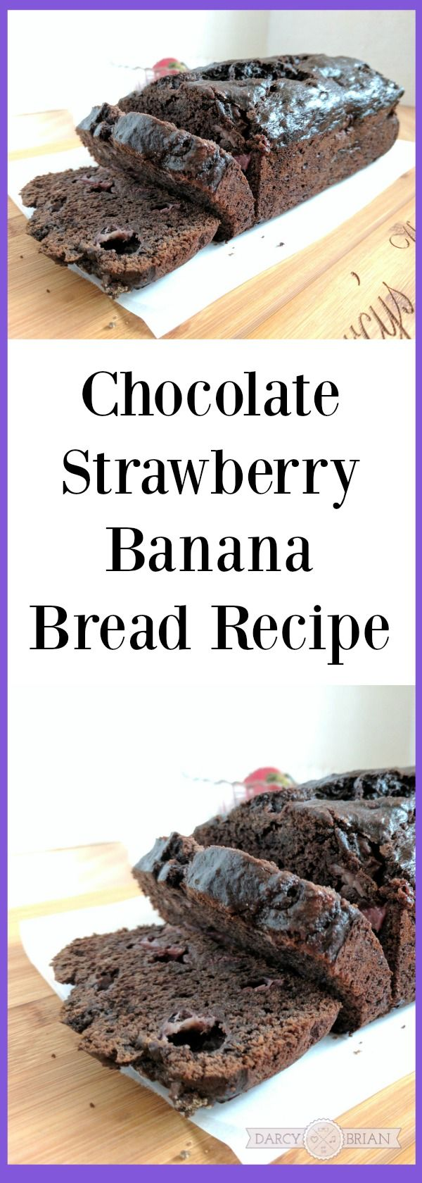 Looking for a delicious breakfast treat? Try making this Chocolate Strawberry Banana Bread recipe while also learning about Heifer's School Milk Feeding Program (AD). via @darcyz