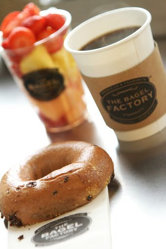 Chocolate Chip Bagel with fruit and Coffee by The Bagel Factory www.thebagelfactory.it