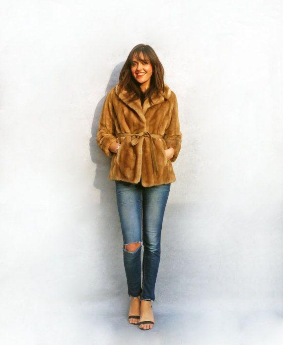 Cream Fur Coat Vintage 70s Short Blonde Faux by AdasAtticVintage