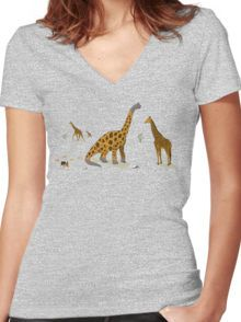 Brachiosaurus Women's Fitted V-Neck T-Shirt