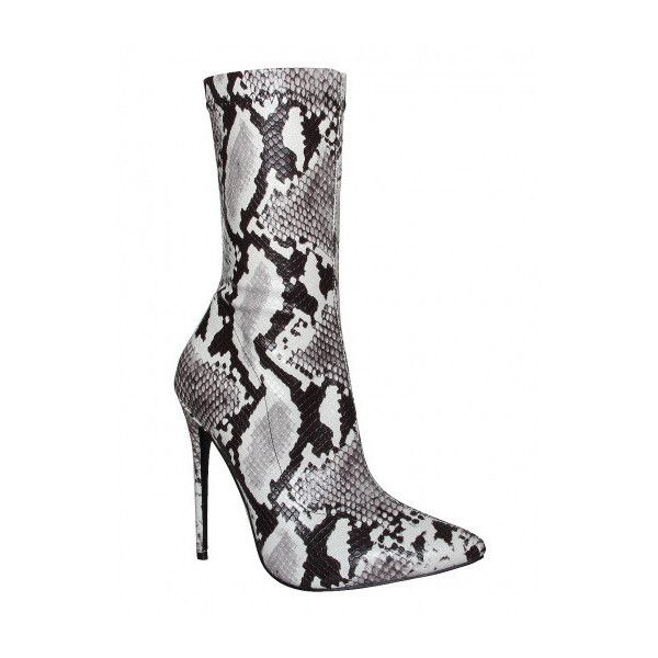 Jadah Black and White Snake Pointed Toe Ankle Boots : Simmi Shoes ❤ liked on Polyvore featuring shoes, boots, ankle booties, pointed toe ankle boots, snake booties, black and white ankle boots, black and white boots and pointed toe booties