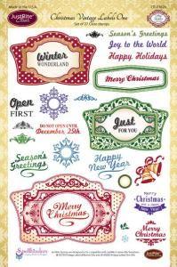 Justrite Christmas Vintage Labels Clear Stamp Set