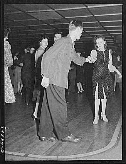 1941 Dancers at large dance hall in San Diego, California. #1940s Fashion