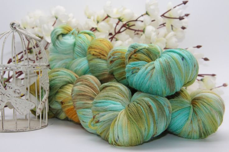 Hand dyeing,  Merino/Cashmere/silk, 284 yards/260 meters,   the color of love by PositiveCreative on Etsy