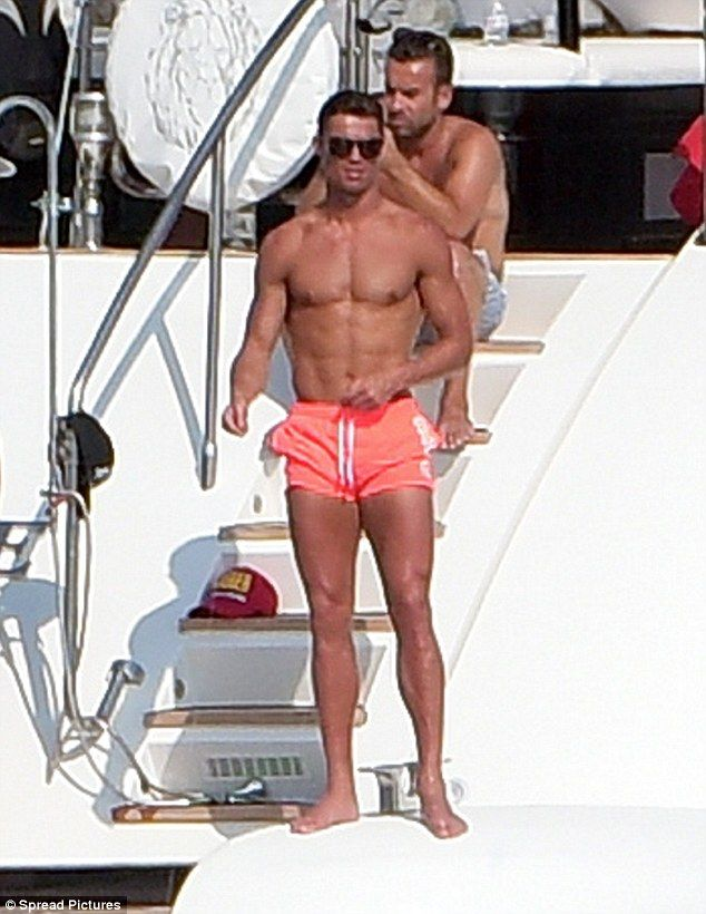 Washboard abs:Cristiano Ronaldo partied on board a yacht in St Tropez in a pair of short ...