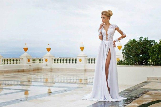 Очаровательная 2016 Dimitrius даля кружева V шеи свадебное платье с открытой спиной шифона с длинным рукавом свадебное платье с боковой сплит-фронта ZY1197
