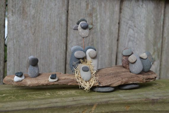 River Stone and Driftwood Nativity on Etsy, $28.00