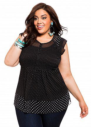Ashley Stewart: Polka-Dot Chiffon Tunic... plus size