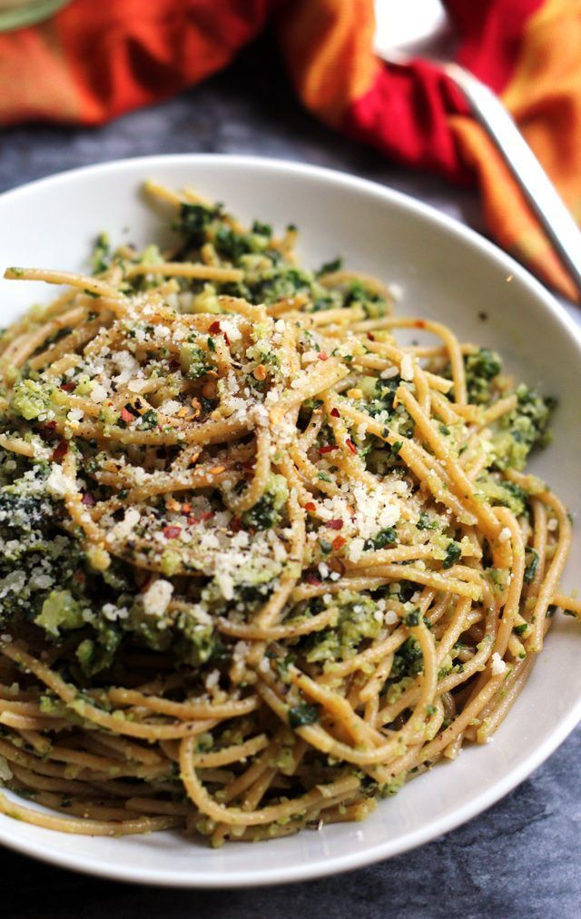 Finely chopped cauliflower and swiss chard sauteed with olive oil and lots of garlic turn into a healthy sauce in this spaghetti with cauliflower and garlicky swiss chard gremolata.
