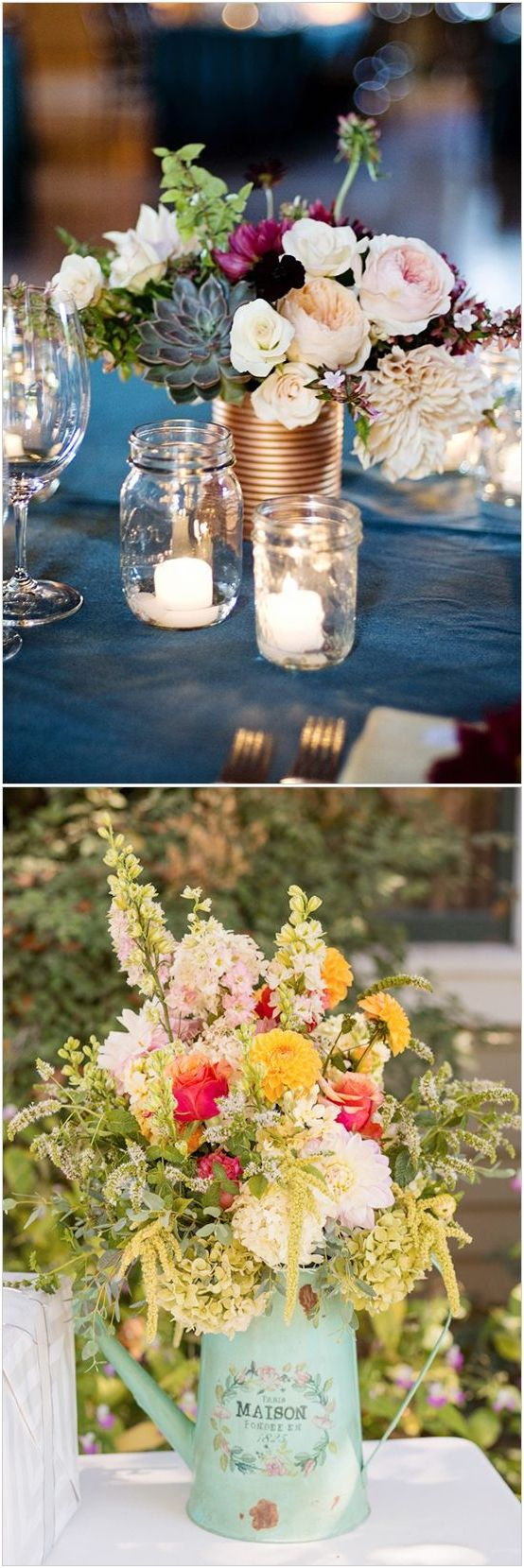 Rustic farm bucket tin-can and watering-can wedding centerpieces #wedding #weddingideas #centerpieces #vintage / http://www.deerpearlflowers.com/wedding-centerpiece-ideas/2/