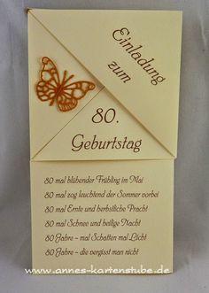 Annes Kartenstube: Einladungen Zum 80. Geburtstag Mehr