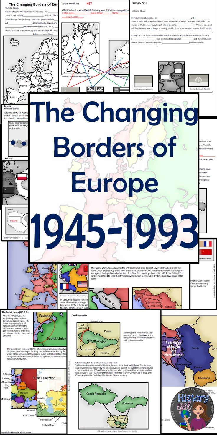 $ This mini-lesson will help your students understand how Europe's borders changed after World War II, during the Cold War, and after the collapse of the Soviet Union. You can use this as guided notes, station work, homework, in an interactive notebook, and much more!
