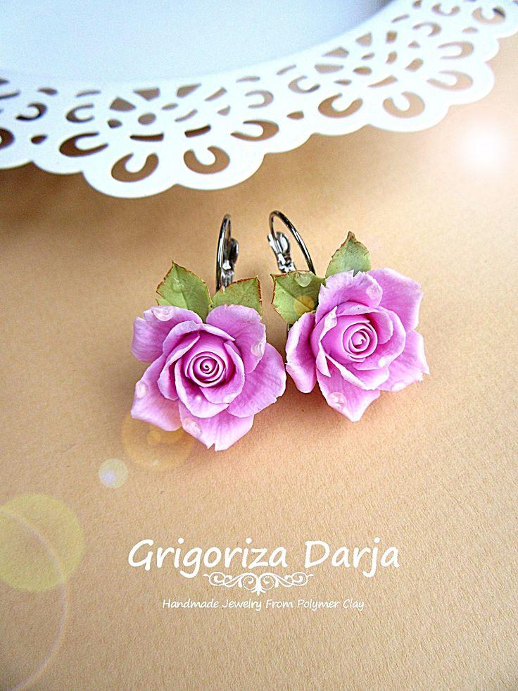 Flowers Earrings polymer clay ● jewelry ● diy ● hand made ● серьги из полимерной глины ● украшения ● ручная работа